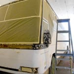 Tour West Bus truck body work Before, All Pro Fleet Painting