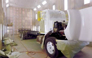 All Pro Truck Body Shop's 60 Foot Paint Booth in Action
