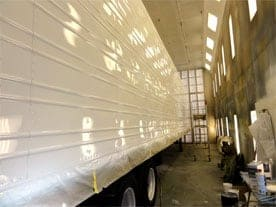 60 foot paint booth in action